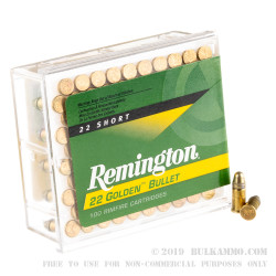 100 Rounds of .22 Short Ammo by Remington - 29gr PRN