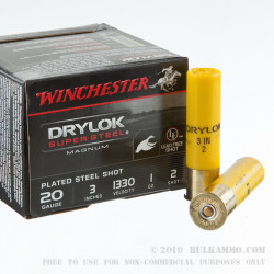 "25 Rounds of 20ga Ammo by Winchester Drylock - 3"" 1 ounce #2 Shot"
