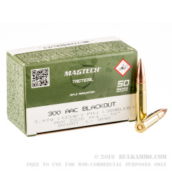 1000 Rounds of .300 AAC Blackout Ammo by Magtech First Defense - 123gr FMJ