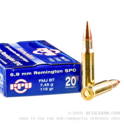 20 Rounds of 6.8 SPC Ammo by Prvi Partizan - 115gr FMJBT
