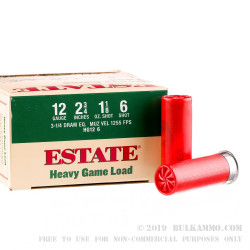 "25 Rounds of 12ga 2-3/4"" Ammo by Estate Cartridge Heavy Game Load - 1 1/8 ounce #6 shot"