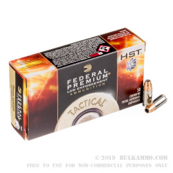 50 Rounds of 9mm Ammo by Federal - 124gr JHP HST LE