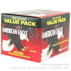 200 Rounds of .223 Ammo by Federal - 50gr JHP