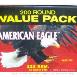 200 Rounds of .223 Ammo by Federal American Eagle  - 55gr FMJ