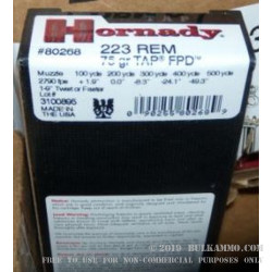 20 Rounds of .223 Ammo by Hornady - 75gr JHP
