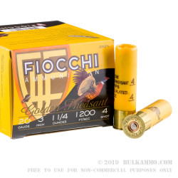 25 Rounds of 20ga Ammo by Fiocchi - 1 1/4 ounce #4 shot