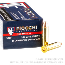 50 Rounds of .357 Mag Ammo by Fiocchi - 142gr FMJTC