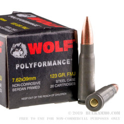 1000 Rounds of 7.62x39mm Ammo by Wolf WPA Polyformance - 123gr FMJ
