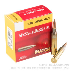 10 Rounds of .338 Lapua Ammo by Sellier & Bellot - 300 gr HPBT