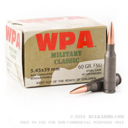 20 Rounds of 5.45x39mm Ammo by Wolf - 60gr FMJ