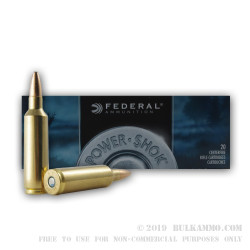 20 Rounds of .270 Win Short Mag Ammo by Federal - 130gr SP