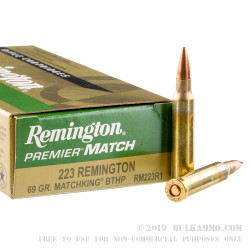 20 Rounds of .223 Ammo by Remington Premier Match - 69gr HPBT MatchKing