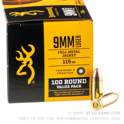 500 Rounds of 9mm Ammo by Browning - 115gr FMJ