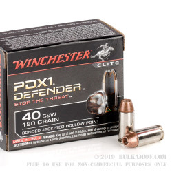 20 Rounds of .40 S&W Ammo by Winchester PDX1 - 180gr JHP