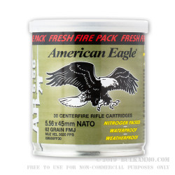 600 Rounds of 5.56x45 Ammo by Federal American Eagle - 62gr FMJBT Fresh Fire Can
