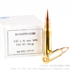 500 Rounds of 7.62x51mm Ammo by Prvi Partizan - 145gr M80 FMJBT