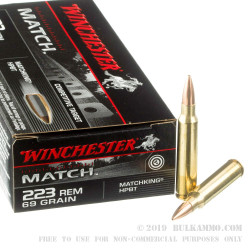 20 Rounds of .223 Ammo by Winchester - 69gr HPBT