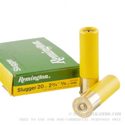 5 Rounds of 20ga Ammo by Remington Slugger - 5/8 ounce Rifled Slug