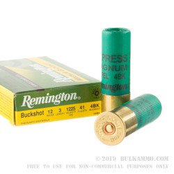 "5 Rounds of 12ga 3"" Ammo by Remington Express -  #4 Buck"