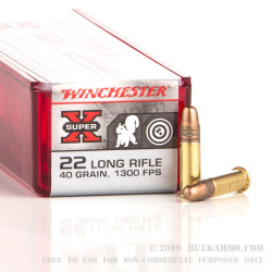 100 Rounds of .22 LR Ammo by Winchester - 40gr CPRN - High Velocity