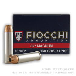 50 Rounds of .357 Mag Ammo by Fiocchi - 158gr JHP XTP