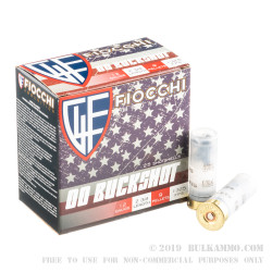 250 Rounds of 12ga Ammo by Fiocchi - 9-Pellet 00 Buck