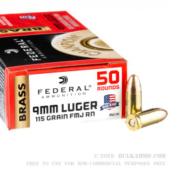 1000 Rounds of 9mm Ammo by Federal - 115gr FMJ