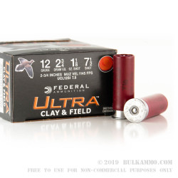 """25 Rounds of 12ga Ammo by Federal - 2-3/4"""" 1-1/8 ounce #7-1/2 shot"""