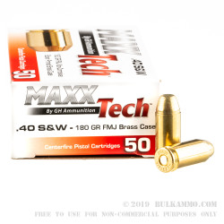 500 Rounds of .40 S&W Ammo by MAXX Tech - 180gr FMJ