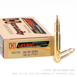 20 Rounds of 30-30 Win Ammo by Hornady Leverevolution - 160gr