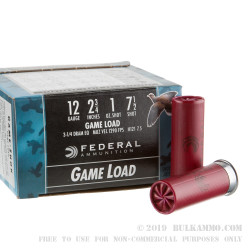 """25 Rounds of 12ga Ammo by Federal Game-Shok - 2 3/4"""" 1 ounce #7 1/2 shot"""