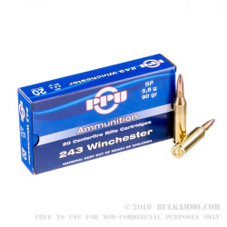 500  Rounds of .243 Win Ammo by Prvi Partizan - 90gr SP