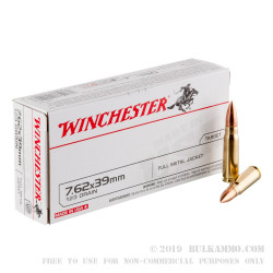 200 Rounds of 7.62x39mm Ammo by Winchester - 123gr FMJ