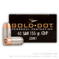 20 Rounds of .40 S&W Ammo by Speer - 155gr JHP