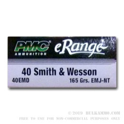 50 Rounds of .40 S&W Ammo by PMC - 165gr EMJ