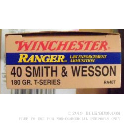 50 Rounds of .40 S&W Ammo by Winchester Ranger T-Series - 180gr JHP