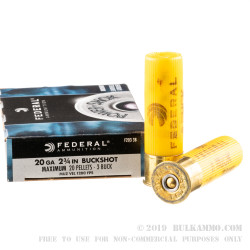 250 Rounds of 20ga Ammo by Federal -  #3 Buck