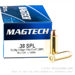 50 Rounds of .38 Special Ammo by Magtech - 158gr FMJ FN