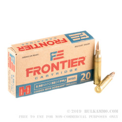 500 Rounds of 5.56x45 Ammo by Hornady Frontier - 55gr FMJ