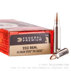 20 Rounds of .223 Ammo by Federal V-Shok - 43 Grain HP Speer TNT Green