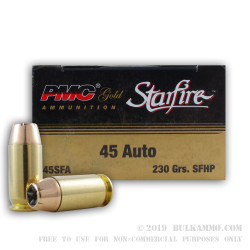 1000 Rounds of .45 ACP Ammo by PMC - 230gr JHP