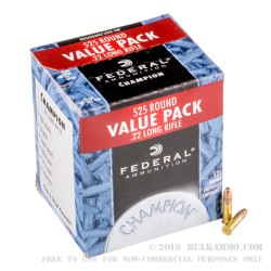 525 Rounds of .22 LR Ammo by Federal Champion - 36gr CPHP