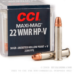50 Rounds of .22 WMR Ammo by CCI - 30gr JHP