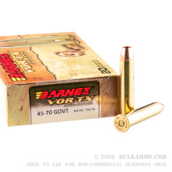 20 Rounds of Bulk .45-70 Ammo by Barnes - 300 gr TSX