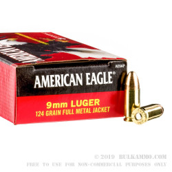 1000 Rounds of 9mm Ammo by Federal American Eagle - 124gr FMJ