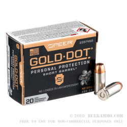 20 Rounds of .40 S&W Ammo by Speer Gold Dot Short Barrel - 180gr JHP