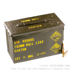 540 Rounds of 7.62x51mm NATO Ammo of Malaysian Military Surplus - 146gr FMJ
