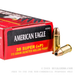 1000 Rounds of .38 Super Ammo by Federal - +P 115gr JHP