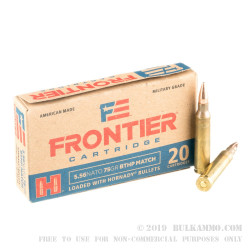 20 Rounds of 5.56x45 Ammo by Hornady Frontier - 75gr HPBT