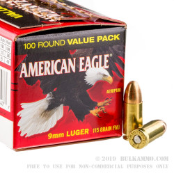 100 Rounds of 9mm Ammo by Federal American Eagle - 115gr FMJ
